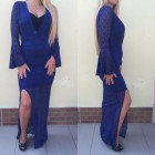 haljina plava čipkana
